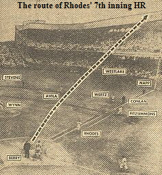 The route of Rhodes' 7th inning HR